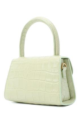 Женская сумка mini BY FAR светло-зеленого цвета, арт. 18FWMINASGDSMA | Фото 3 (Сумки-технические: Сумки через плечо, Сумки top-handle; Материал: Натуральная кожа; Размер: mini; Ремень/цепочка: На ремешке)