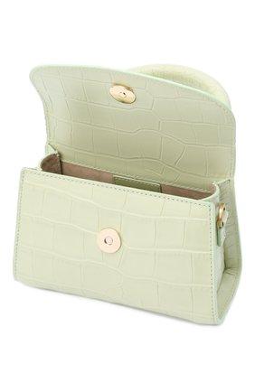 Женская сумка mini BY FAR светло-зеленого цвета, арт. 18FWMINASGDSMA | Фото 4 (Сумки-технические: Сумки через плечо, Сумки top-handle; Материал: Натуральная кожа; Размер: mini; Ремень/цепочка: На ремешке)