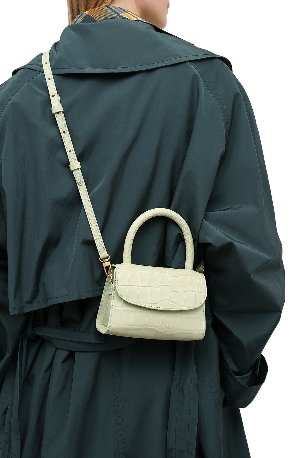 Женская сумка mini BY FAR светло-зеленого цвета, арт. 18FWMINASGDSMA | Фото 5 (Сумки-технические: Сумки через плечо, Сумки top-handle; Материал: Натуральная кожа; Размер: mini; Ремень/цепочка: На ремешке)