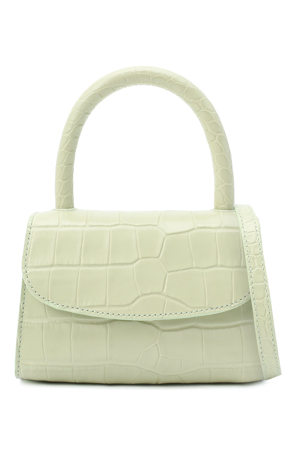 Женская сумка mini BY FAR светло-зеленого цвета, арт. 18FWMINASGDSMA | Фото 6 (Сумки-технические: Сумки через плечо, Сумки top-handle; Материал: Натуральная кожа; Размер: mini; Ремень/цепочка: На ремешке)