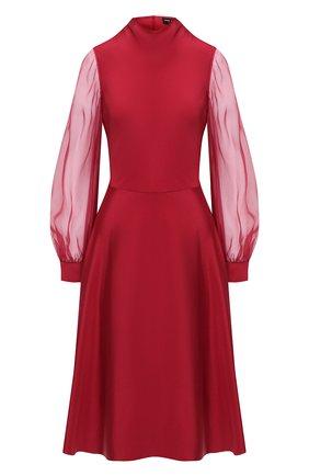 Женское шелковое платье GIORGIO ARMANI красного цвета, арт. 0WHVA066/T01UW | Фото 1