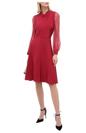 Женское шелковое платье GIORGIO ARMANI красного цвета, арт. 0WHVA066/T01UW | Фото 2