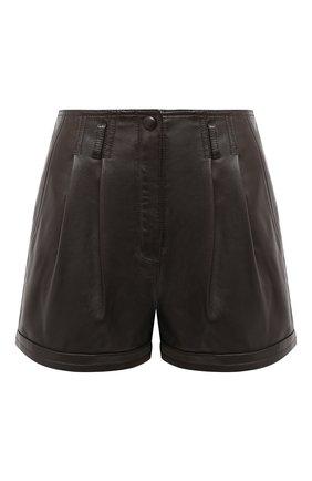 Женские кожаные шорты SAINT LAURENT темно-коричневого цвета, арт. 630200/Y50A2 | Фото 1