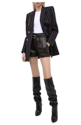 Женские кожаные шорты SAINT LAURENT темно-коричневого цвета, арт. 630200/Y50A2 | Фото 2