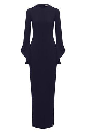 Женское шелковое платье TOM FORD темно-синего цвета, арт. AB2115-FAX230 | Фото 1 (Рукава: Длинные; Материал внешний: Шелк; Материал подклада: Шелк; Женское Кросс-КТ: Платье-одежда)