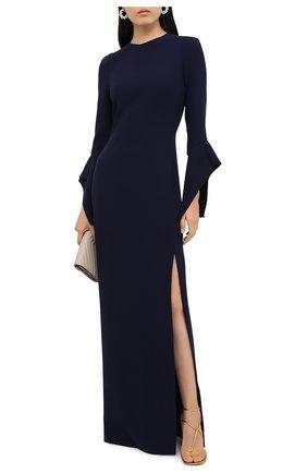 Женское шелковое платье TOM FORD темно-синего цвета, арт. AB2115-FAX230 | Фото 2 (Рукава: Длинные; Материал внешний: Шелк; Материал подклада: Шелк; Женское Кросс-КТ: Платье-одежда)
