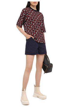Женские хлопковые шорты KENZO синего цвета, арт. FA62SH0535AG | Фото 2 (Материал внешний: Хлопок; Длина Ж (юбки, платья, шорты): Мини; Женское Кросс-КТ: Шорты-одежда; Стили: Кэжуэл)