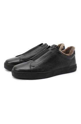 Мужские кожаные кеды MORESCHI черного цвета, арт. 42838/CQ/ADRIA/F.M0NT0NE | Фото 1
