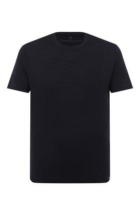 Мужская шерстяная футболка CAPOBIANCO темно-синего цвета, арт. 9M660.JE00. | Фото 1