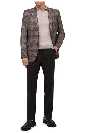 Мужское поло из кашемира и шелка BRIONI светло-бежевого цвета, арт. UMR30L/P9K28 | Фото 3