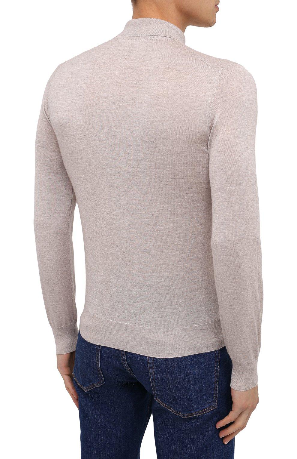 Мужское поло из кашемира и шелка BRIONI светло-бежевого цвета, арт. UMR30L/P9K28 | Фото 5