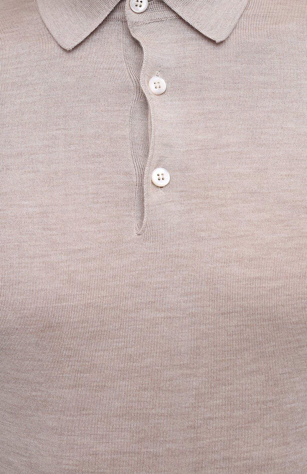 Мужское поло из кашемира и шелка BRIONI светло-бежевого цвета, арт. UMR30L/P9K28 | Фото 6