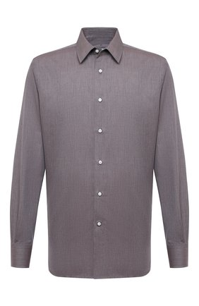 Мужская сорочка из хлопка и кашемира CANALI темно-бежевого цвета, арт. 7714/GX01931 | Фото 1 (Материал внешний: Хлопок; Длина (для топов): Стандартные; Рукава: Длинные; Случай: Формальный; Стили: Классический; Воротник: Кент)