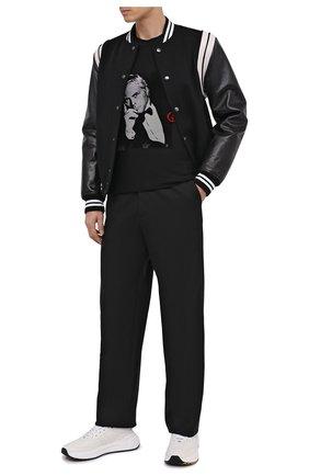 Мужская футболка из вискозы GIORGIO ARMANI черного цвета, арт. 6HSM73/SJSVZ | Фото 2 (Рукава: Короткие; Длина (для топов): Стандартные; Мужское Кросс-КТ: Футболка-одежда; Стили: Кэжуэл)