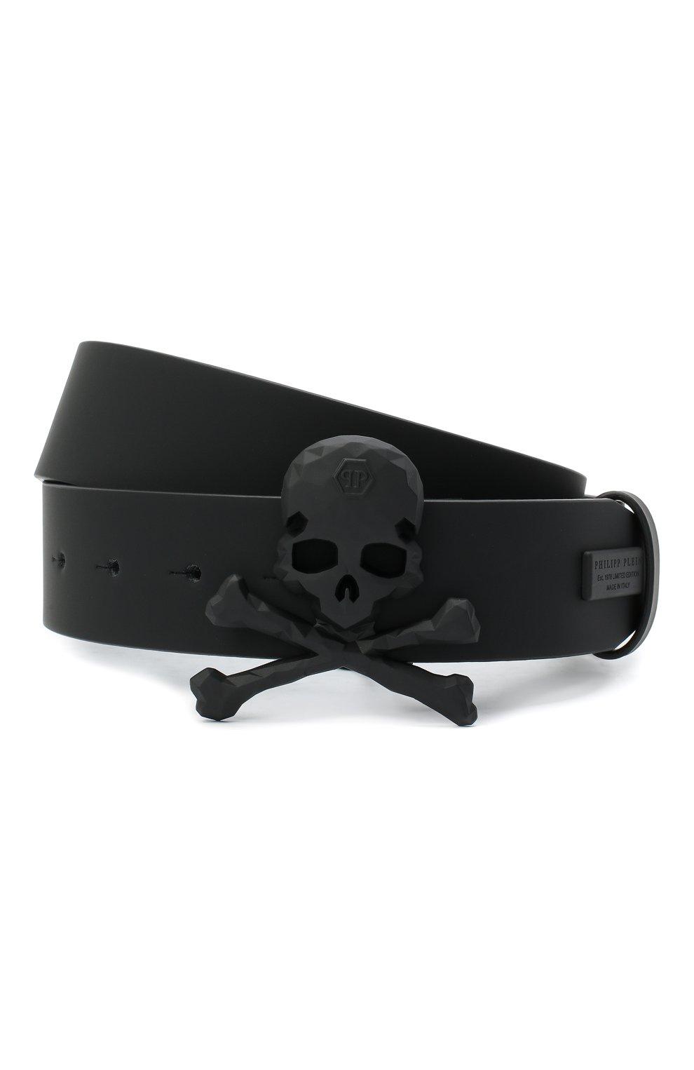 Мужской кожаный ремень PHILIPP PLEIN черного цвета, арт. F20A MVA0602 PLE008N | Фото 1