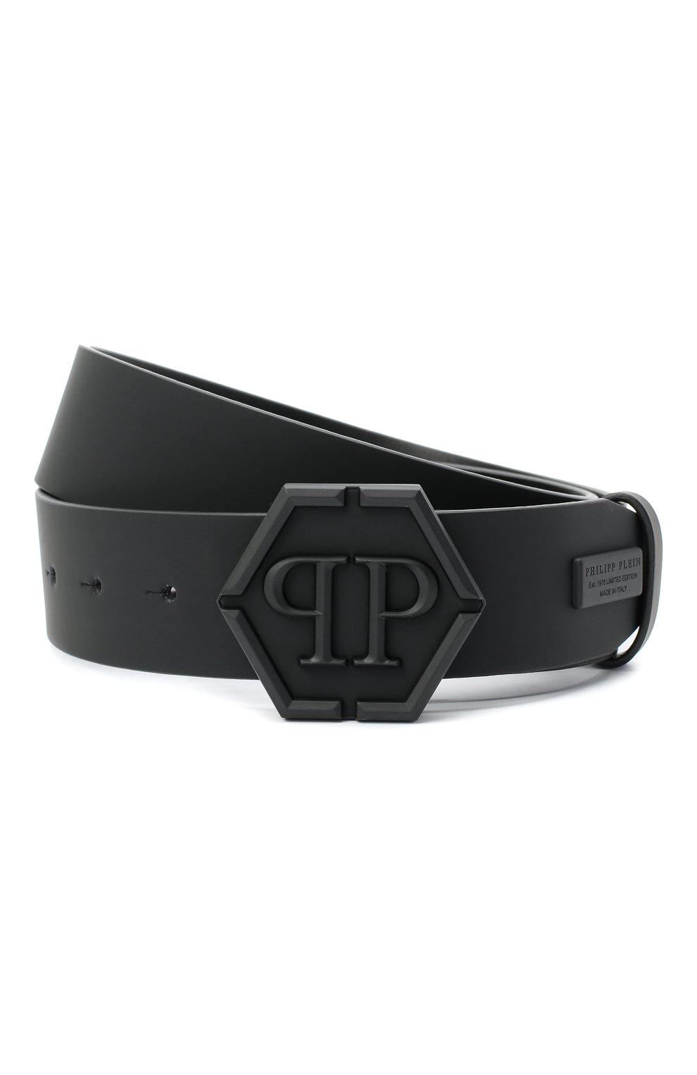 Мужской кожаный ремень PHILIPP PLEIN черного цвета, арт. F20A MVA0600 PLE008N   Фото 1