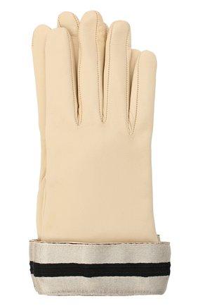 Женские кожаные перчатки GIORGIO ARMANI бежевого цвета, арт. 794212/0A212 | Фото 1