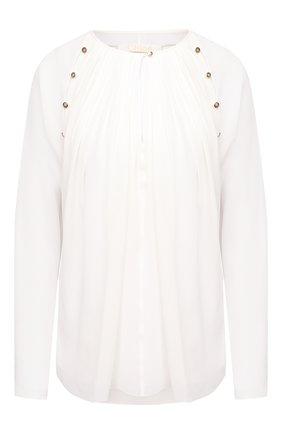 Женская шелковая блузка CHLOÉ белого цвета, арт. CHC20AHT32002   Фото 1