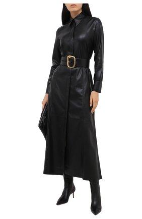 Женские кожаные сапоги GIORGIO ARMANI черного цвета, арт. X10214/XF420 | Фото 2 (Каблук высота: Средний; Материал внутренний: Натуральная кожа; Подошва: Плоская; Материал внешний: Кожа; Высота голенища: Средние; Каблук тип: Шпилька)