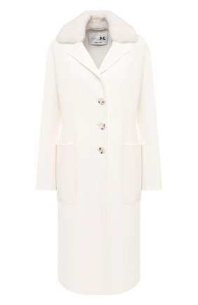 Женское пальто из шерсти и кашемира MANZONI24 белого цвета, арт. 20M745-DB3V/38-46   Фото 1