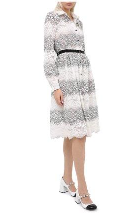 Женское платье с поясом ERMANNO ERMANNO SCERVINO черно-белого цвета, арт. 47T AB01 PIZ | Фото 2