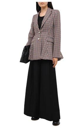 Женские брюки из шерсти и хлопка LOEWE черного цвета, арт. S359331X29 | Фото 2