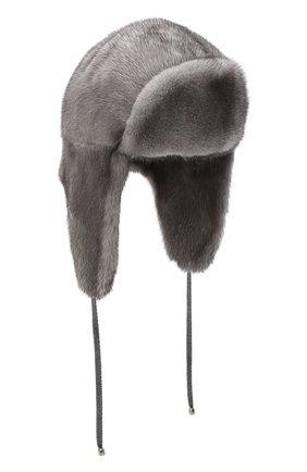Женский норковая шапка-ушанка KUSSENKOVV темно-серого цвета, арт. 90600010094 | Фото 1