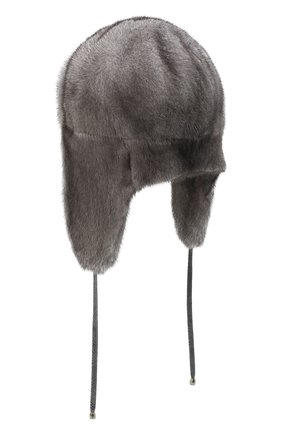 Женский норковая шапка-ушанка KUSSENKOVV темно-серого цвета, арт. 90600010094 | Фото 2