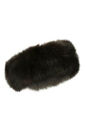 Женская меховая повязка на голову KUSSENKOVV темно-коричневого цвета, арт. 163500004020 | Фото 1