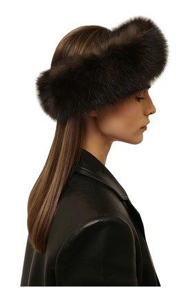 Женская меховая повязка на голову KUSSENKOVV темно-коричневого цвета, арт. 163500004020 | Фото 2