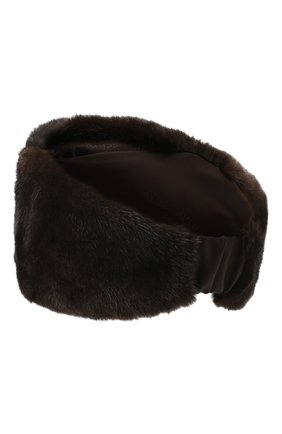 Женская меховая повязка на голову KUSSENKOVV темно-коричневого цвета, арт. 160200004016 | Фото 2