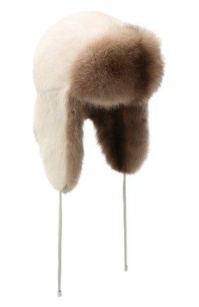 Женский норковая шапка-ушанка KUSSENKOVV разноцветного цвета, арт. 91203641094 | Фото 1