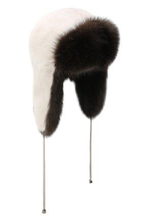 Женский норковая шапка-ушанка KUSSENKOVV разноцветного цвета, арт. 92003530094 | Фото 1