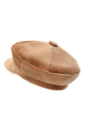Женская кепи из меха норки KUSSENKOVV светло-коричневого цвета, арт. 120110005429 | Фото 2 (Материал: Натуральный мех)