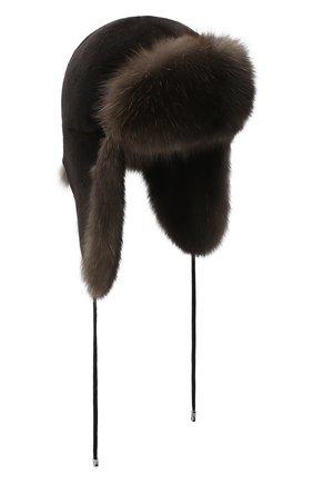 Женский норковая шапка-ушанка KUSSENKOVV разноцветного цвета, арт. 90213504094 | Фото 1