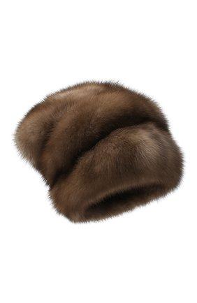 Женская меховая шапка KUSSENKOVV светло-коричневого цвета, арт. 63600005683 | Фото 1