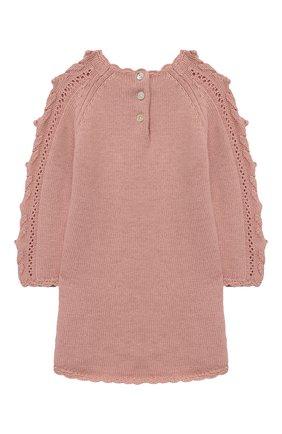 Женский платье TARTINE ET CHOCOLAT розового цвета, арт. TR30151/1M-1A | Фото 2 (Рукава: Длинные; Материал внешний: Хлопок; Ростовка одежда: 12 мес | 80 см, 6 мес | 68 см, 9 мес | 74 см)