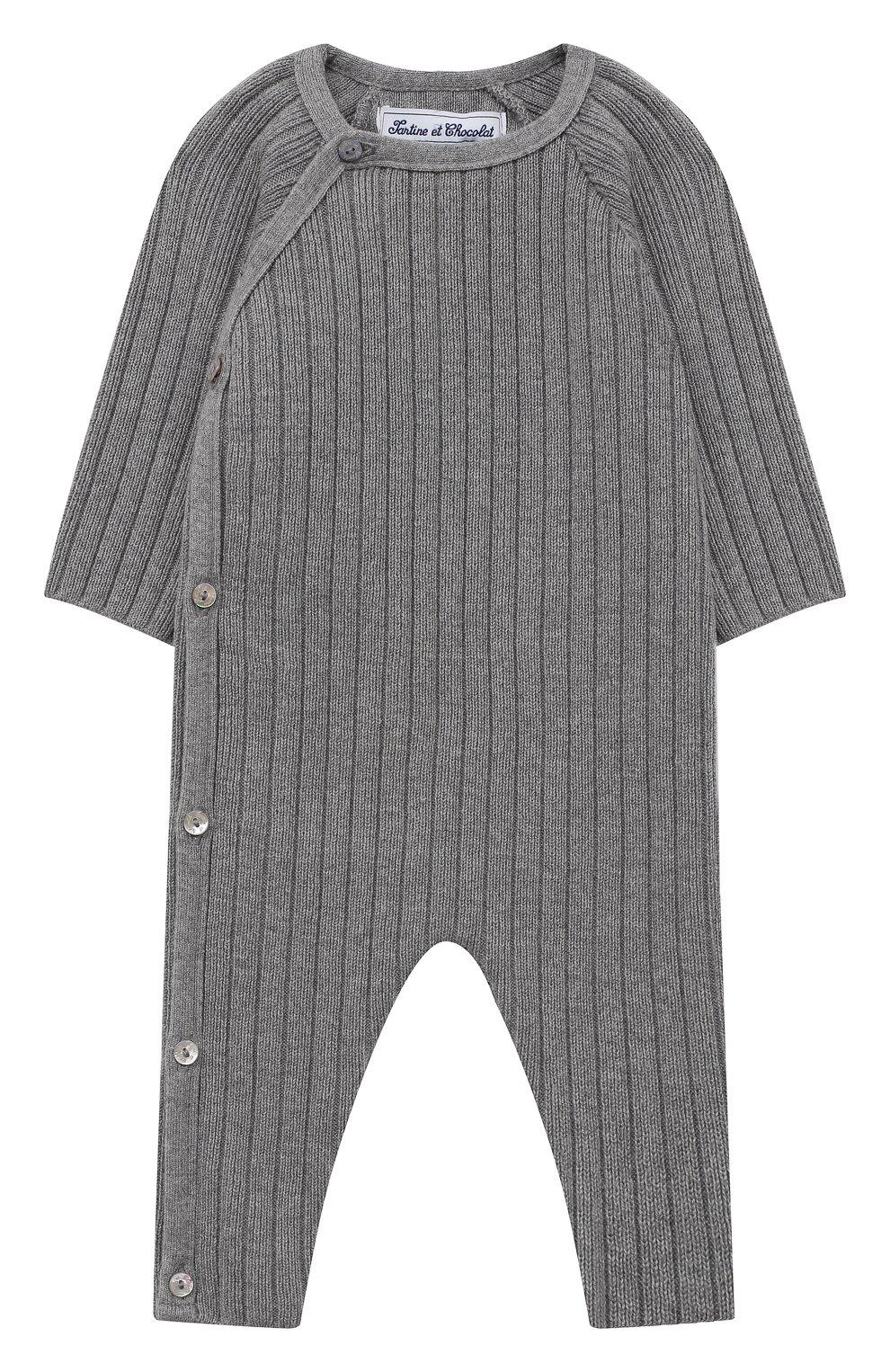 Детский хлопковый комбинезон TARTINE ET CHOCOLAT серого цвета, арт. TR32081/1M-1A   Фото 1