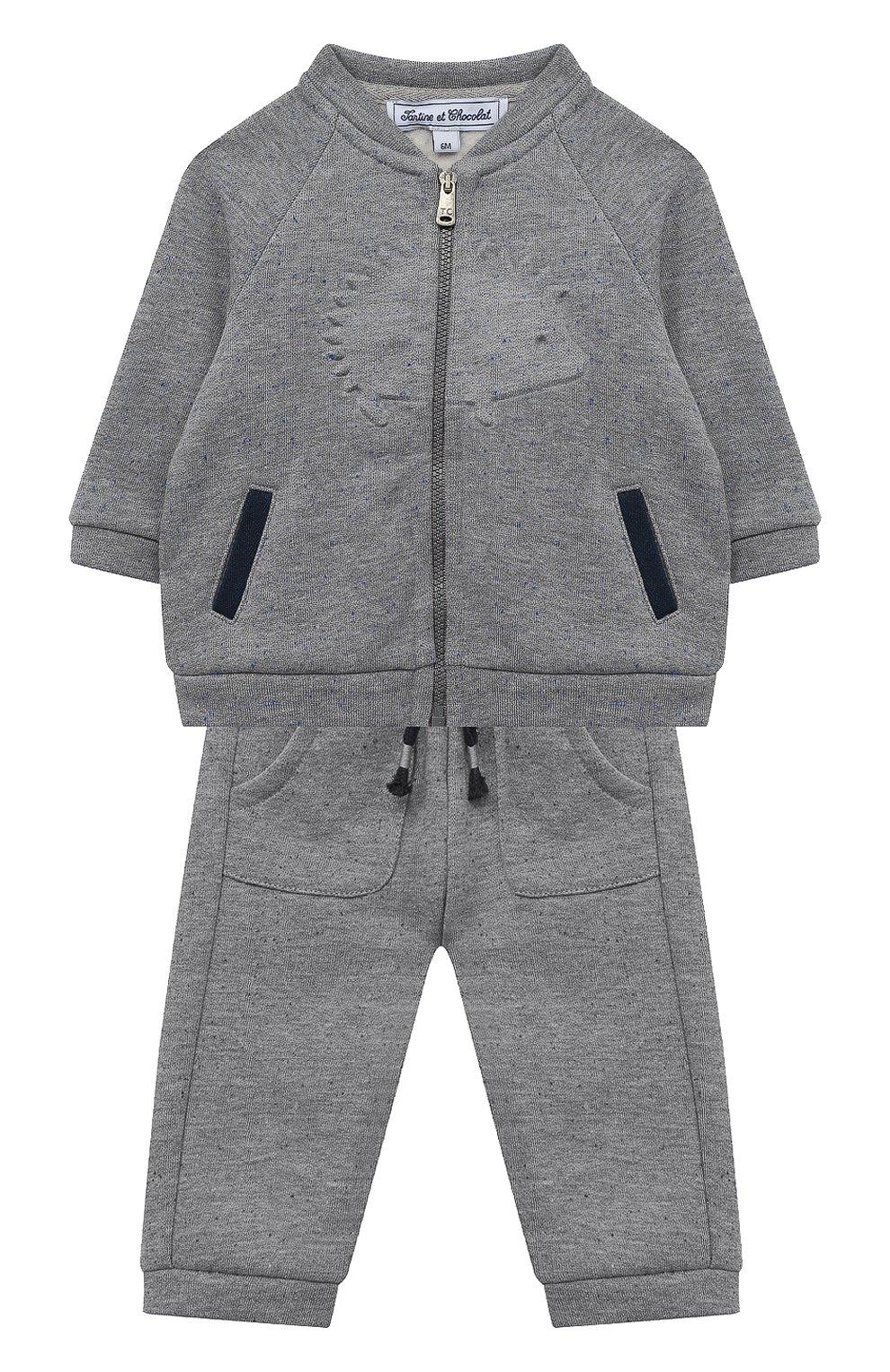 Детский комплект из толстовки и брюк TARTINE ET CHOCOLAT серого цвета, арт. TR35001/1M-1A | Фото 1