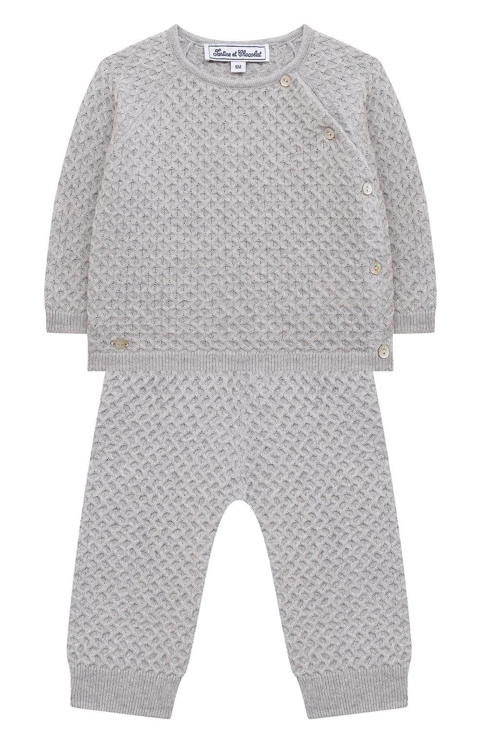 Детский комплект из пуловера и брюк TARTINE ET CHOCOLAT серого цвета, арт. TR36011/1M-1A   Фото 1