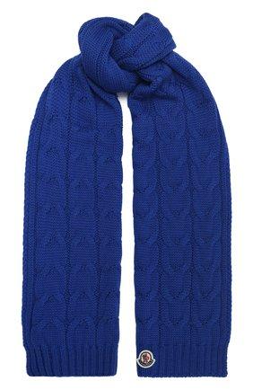 Детский шерстяной шарф MONCLER синего цвета, арт. F2-954-3C700-20-04S02 | Фото 1