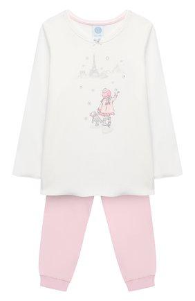 Детская хлопковая пижама SANETTA белого цвета, арт. 232487 | Фото 1