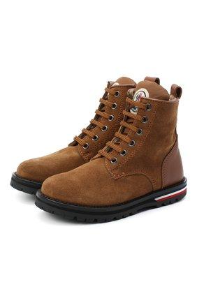 Детские кожаные ботинки MONCLER коричневого цвета, арт. F2-954-4F700-20-02SM2   Фото 1 (Материал внутренний: Текстиль; Материал внешний: Кожа; Кросс-КТ: хайкеры)