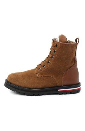 Детские кожаные ботинки MONCLER коричневого цвета, арт. F2-954-4F700-20-02SM2   Фото 2 (Материал внутренний: Текстиль; Материал внешний: Кожа; Кросс-КТ: хайкеры)