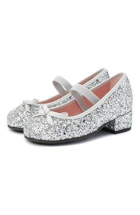 Детские туфли с перемычкой PRETTY BALLERINAS серебряного цвета, арт. 44.097/KYLIE   Фото 1