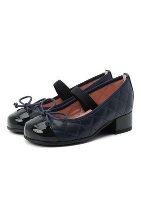 Детские кожаные туфли PRETTY BALLERINAS синего цвета, арт. 48.402/SHADE/C0T0N | Фото 1