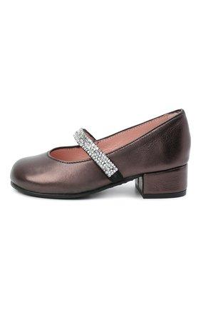 Детские кожаные туфли PRETTY BALLERINAS коричневого цвета, арт. 48.788/AMI | Фото 2