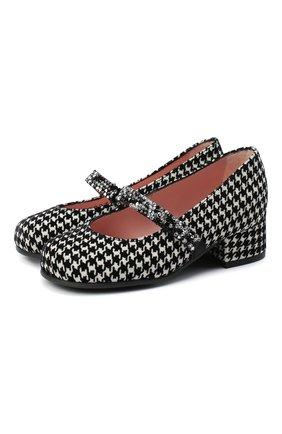 Детские замшевые туфли PRETTY BALLERINAS черно-белого цвета, арт. 48.788/LIBRARY | Фото 1