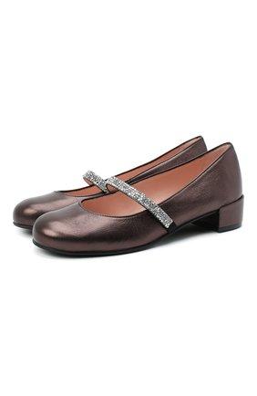 Детские кожаные туфли PRETTY BALLERINAS коричневого цвета, арт. 48.788-R/AMI | Фото 1