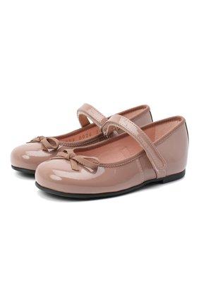 Детские кожаные балетки PRETTY BALLERINAS бежевого цвета, арт. 49.126-R/SHADE/SHADE/C0T0N | Фото 1